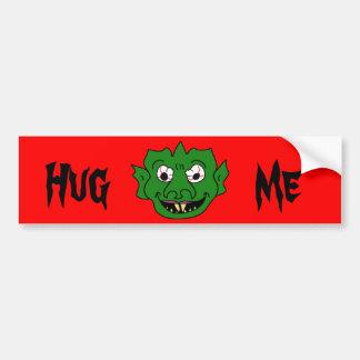Green Monster Head Car Bumper Sticker