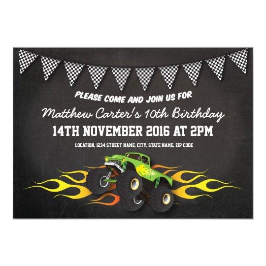 Green Monster Jam Truck Birthday Party Card