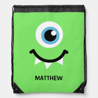 Green monster personalized name drawstring backpack