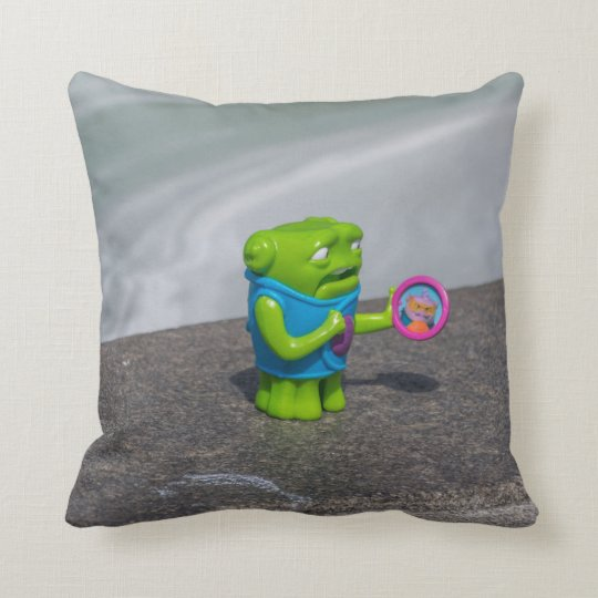 Green monster plastic toy throw cushion