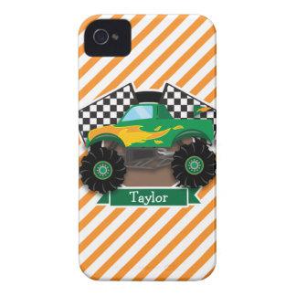 Green Monster Truck, Checkered Flag; Orange Stripe Case-Mate iPhone 4 Cases