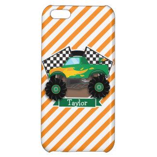 Green Monster Truck, Checkered Flag; Orange Stripe iPhone 5C Cover