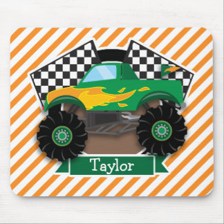 Green Monster Truck, Checkered Flag; Orange Stripe Mouse Pad