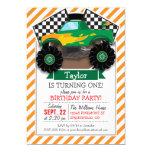 Green Monster Truck, Chequered Flag; Orange Stripe 13 Cm X 18 Cm Invitation Card