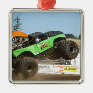 Green Monster Truck In Action Christmas Ornament