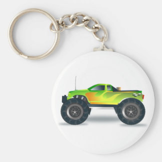 Green Monster Truck with Flames Painted On Side Keychains