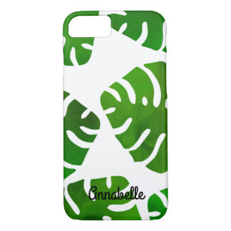 Green Monstera Black Custom Name iPhone 8/7 Case