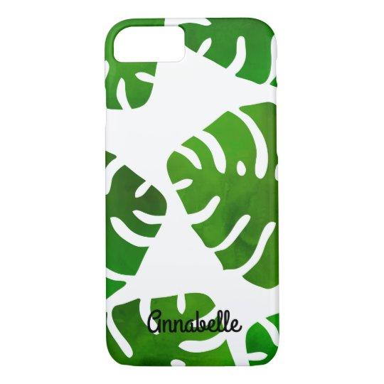 Green Monstera Black Custom Name iPhone 8/7 Case