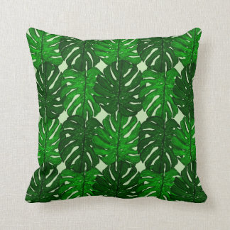 Green Monstera Leaf Throw Pillow