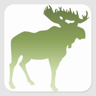 Green Moose Square Sticker
