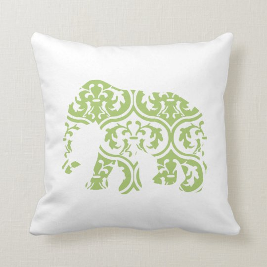 Green Moroccan Leaves Elephant Cushion