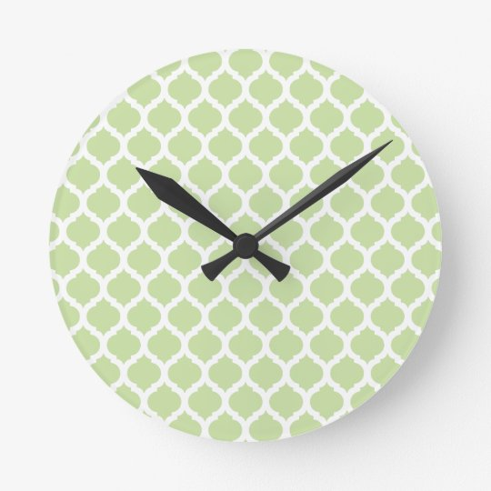 Green Moroccan Pattern Wall Clocks