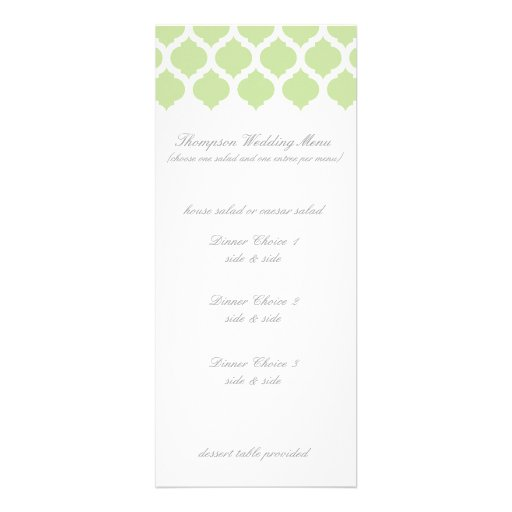 Green Moroccan Pattern Wedding Menus Personalized Announcement