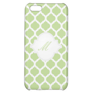 Green Moroccan Pattern with Monogram iPhone Cases iPhone 5C Cover