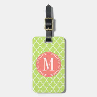Green Moroccan Tiles Lattice Personalized Luggage Tag