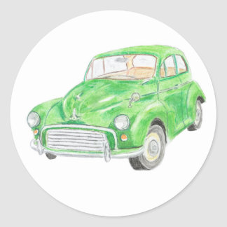 Green Morris Minor Car Sticker