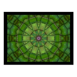 Green Mosaic Kaleidoscope Post Card