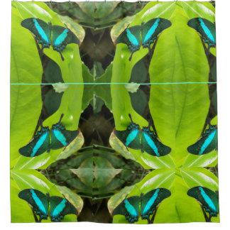 Green Moss Peacock Butterfly Shower Curtain