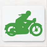 Green Motorbiker Sign Mouse Pads