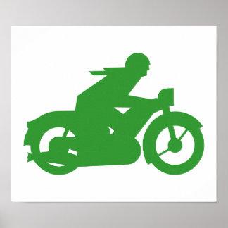 Green Motorbiker Sign Posters