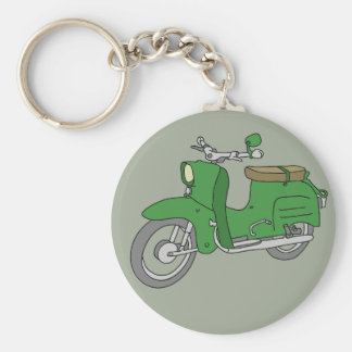 """Green Motorscooter """"Schwalbe"""" Basic Round Button Key Ring"""