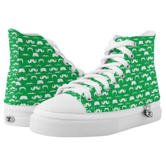 Green Moustache Tennis Shoes Printed Shoes