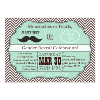 Green Moustaches or Pearls Gender Reveal Invites