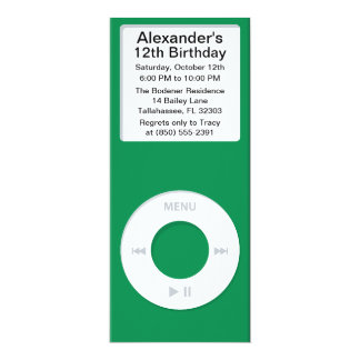 Green MP3 Player iParty Birthday Party Personalized Announcement