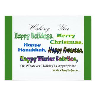 Green Multi holiday greetings 17 Cm X 22 Cm Invitation Card