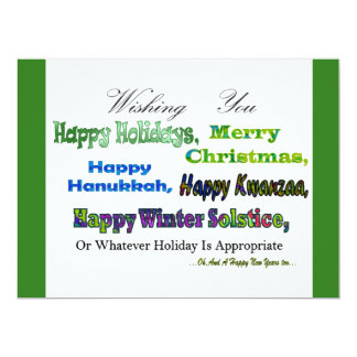 "Green Multi holiday greetings 6.5"" X 8.75"" Invitation Card"