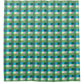 Green Multi Print Shower Curtain