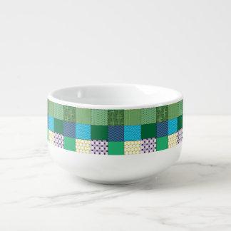 Green Multi Print Soup Mug