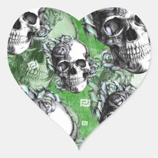 Green multi skull for mental health. sticker