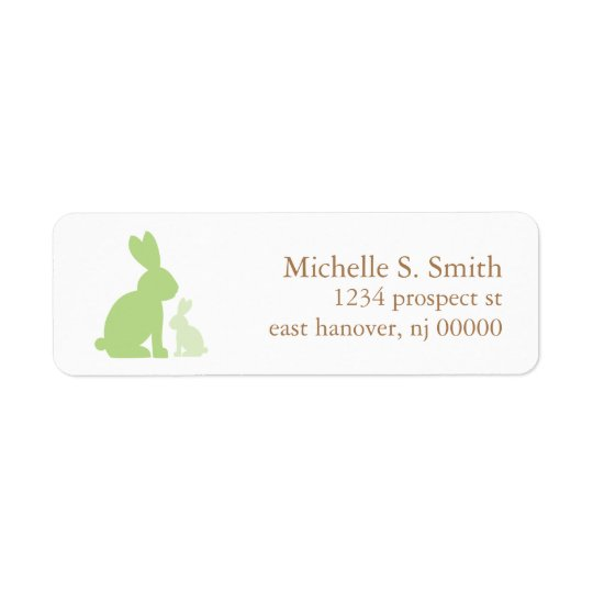 Green Mum and Baby Rabbits Return Address Label