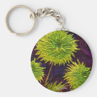 Green Mums Basic Round Button Key Ring