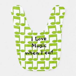 Green Music Notes Baby Bib