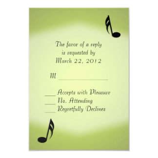 Green Music Wedding RSVP 9 Cm X 13 Cm Invitation Card