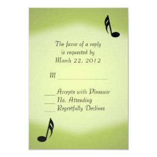 Green Music Wedding RSVP 9 Cm X 13 Cm Invitation Card