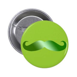 Green Mustache 6 Cm Round Badge