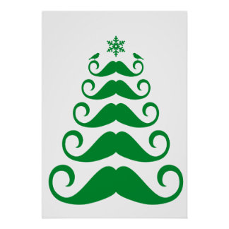 Green mustache Christmas tree Poster