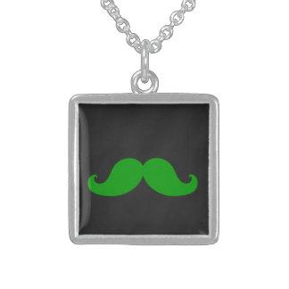 Green Mustache on Black Chalkboard Necklace