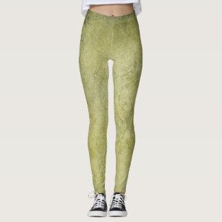 Green Muted Floral Leaf Pattern Legging