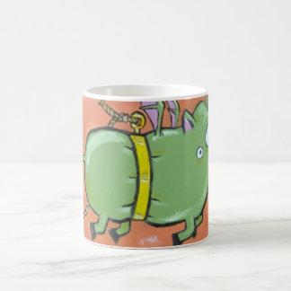 green muzzle green pig mug