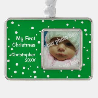 Green My First Christmas Custom Photo Ornament
