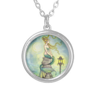 Green Mystical Mermaid Fantasy Art Round Pendant Necklace