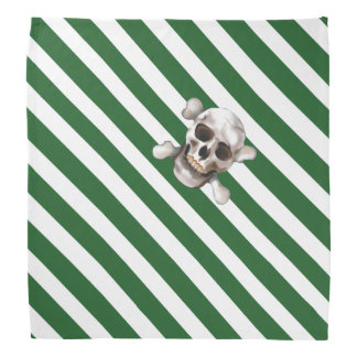 Green 'n white Pirate Stripe w' Skull & Crossbones Bandana