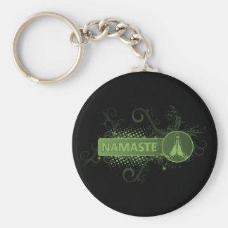 Green Namaste English Key Ring