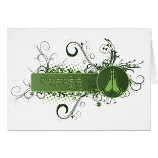 Green Namaste Tibetan Card