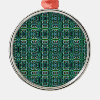 Green Native American Fabric Design. Aztec Pattern Christmas Ornaments