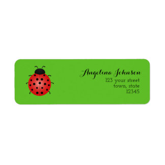 Green Nature Beautiful Ladybird Simple Fresh Chic Return Address Label
